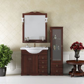 Производство: Россия ширина: 87 см, напольная, цвет: орех антикварный, белый; раковина керамика, фасад массив дерева.
